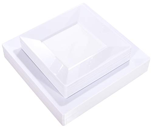 Liacere 60Pieces White Plastic Plates - Premium White Square Disposable Plates for Party/Wedding - Include 30Pieces 9.5inch White Dinner Plates - 30Pieces 7inch White Dessert/Salad Plates
