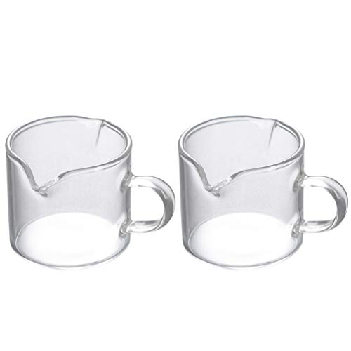 Cabilock 2pcs Espresso Measuring Glass Coffee Shot Glass Measuring Cup with 2 Spouts with Handle Drink Shaker Milk Coffee Measuring Mug Barista Tool 70ml Transparent