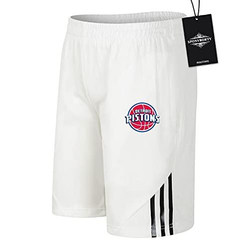 SPONYBORTY de Los Hombres Sudor Corto Verano Pistons Pantalones Cortos Algodón Corto Baloncesto Trotar Traje Niños/Blanco/S