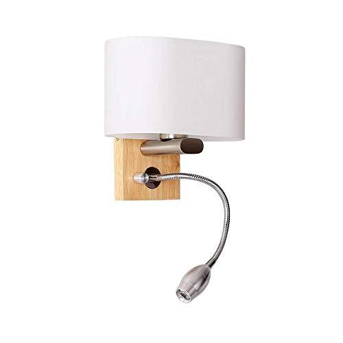 Applique murale moderne en bois avec flexible réglable LED 3W Lampe de lecture Blanc chaud Lampe de chevet avec interrupteur Intérieur Chambre Veilleuse Blanc Verre Abat-jour murale Design E27 MAX 40W
