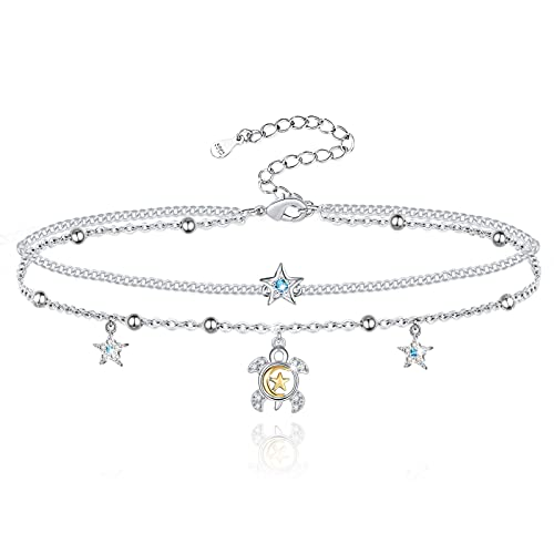 Sianilvera Sea Turtle Ankle Bracelet Sterling Silver Anklet Jewelry For Women Gifts Moon Star Beads Adjustable Anklet (Sea Turtle Anklet)
