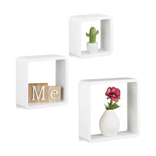 Relaxdays Hängeregal Cube 3er Set, Wandboard freischwebend, Wandregal Holz, quadratisch, schmal, MDF, Würfel, weiß