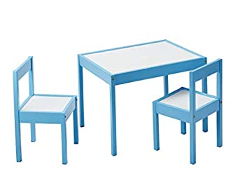 Amazon Basics 3-Piece Wood Kids Table and Chairs Set with Dry Erasable Table Top Sky Blue