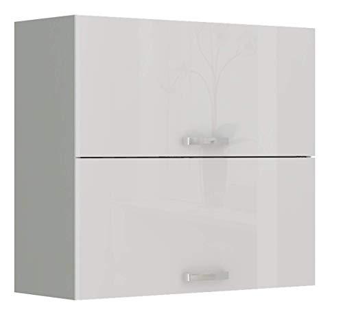 Küchen Hängeschrank 80 cm Bianca Weiss Hochglanz + Grau Küchenzeile Küchenblock