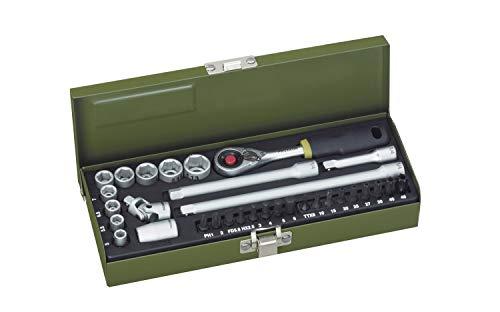PROXXON Steckschlüsselsatz, Feinmechaniker-Satz mit 1/4'-MICRO-Kompaktratsche und starkem Magneteinsatz, 32-teiliges Werkzeug-Set mit Stahlkasten, 23078