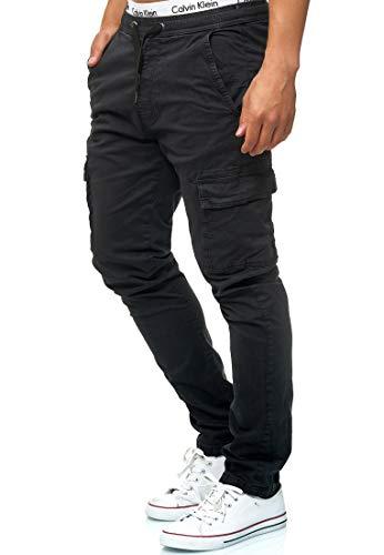Indicode Caballeros Broadwick Pantalón Cargo En Algodón con 6 Bolsillos   Largo Regular Fit Pantalones De Tiempo Libre Senderismo Trekking Pants Aire para Hombres Negro S