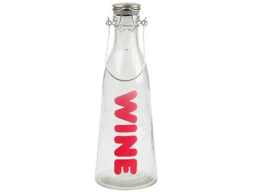 PT, PT1322 Carafe à vin Wine Transparent et fuchsia Verre et métal Hermétique Contenance 1 litre Avec anse