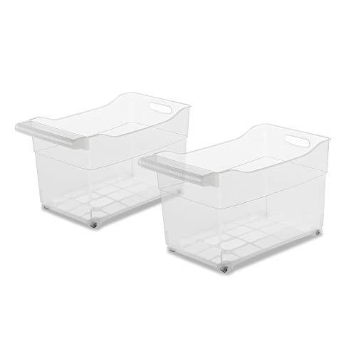 USE FAMILY -Cajas almacenaje plastico con Ruedas -Organizador de armarios de Cocina -Especial almacenaje Productos de Limpieza - Pack de 2 (XXL)