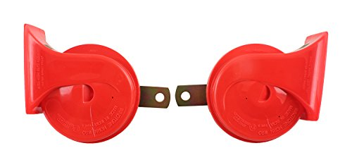 Roots Front Wind Tone 90 Car Horn for All Vehicles (Red), Set of 2