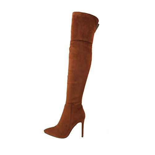 Zapatos para Mujer, Botas Elásticas De Tacón Alto, Botas por Encima De La Rodilla De Gamuza Esmerilada con Tacón De Aguja, Botas Largas con Cremallera Lateral (Color : Gray, Size : 45 EU)
