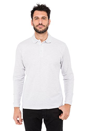 Fruit of the Loom Herren Premium Long Sleeve Polo Poloshirt, Grau (Ash 93), Medium