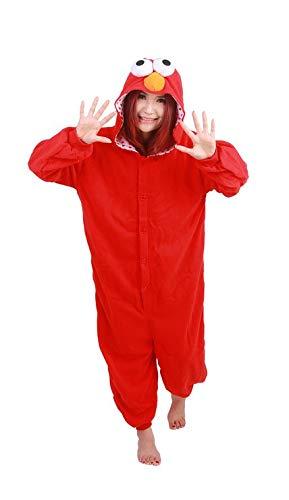 Unisex Disney Zeichentrickfiguren Schlumpf Ausländer Mike Wazowski Elmo Sully keks Monster Onesie Kigurumi Pyjama Karneval Kostüm Maskenkostüm Kapuzenpulli Schlafanzüge Elmo, L(Height 170cm-180cm)