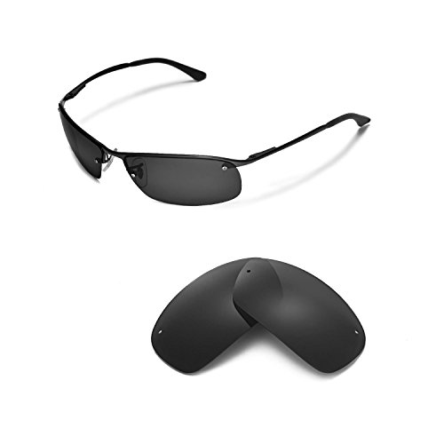Walleva Replacement Lenses for Ray-Ban RB3183 63mm Sunglasses - Multiple Options Available (Black - Polarized)