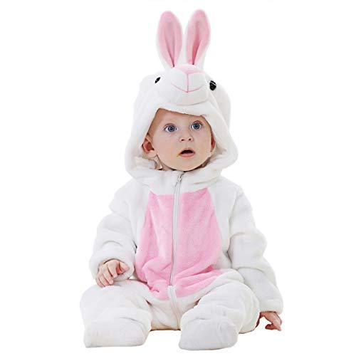Kinder Tiger Tier Hase Kostüme Flanell Pyjama Schlafanzug Mädchen Jungen Winter Nachtwäsche Tieroutfit Cosplay Jumpsuit (Häschen, Größe 90 (Körpergröße 79-88cm))