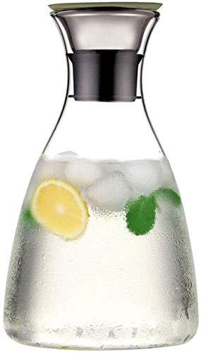 Tetera Jarra de agua con tapa, jarra de agua, jarra de vidrio, jarra de vidrio borosilicato, tapa de acero inoxidable y posavasos (tamaño: B1.5L)