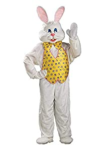 Hop to the party in this DELUXE BUNNY COSTUME that include both a MASCOT QUALITY HEADPIECE and an open-face hood with attached ears Long sleeve jumpsuit with printed vest front; bowtie, gloves; shoe-covers and bunny character hooded headpiece READ BE...