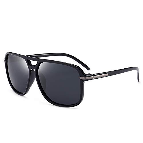 Gafas De Sol Polarizadas Gafas De Sol para Hombre Marco De Gafas De Personalidad Vintage Zhenzhiyangshangmao (Size : Bright Black Box Black Gray)