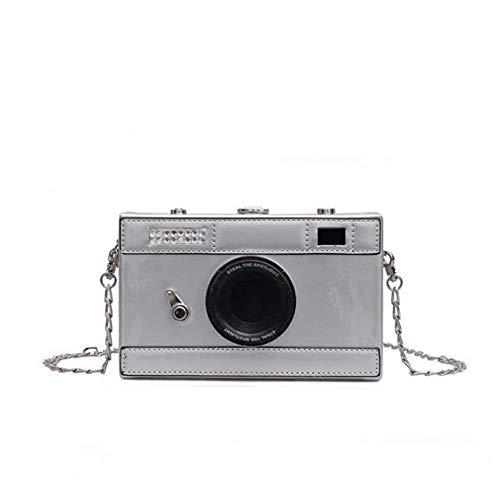 Women's PU Camera Shaped Snapshot Casual Cross Body Wallet Shoulder Handbag Purse (silver)