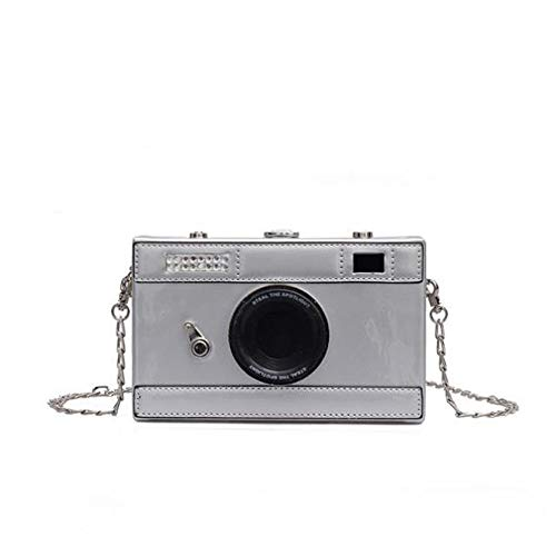 Women's PU Camera Shaped Snapshot Casual Cross Body Wallet Shoulder Handbag Purse (silver)