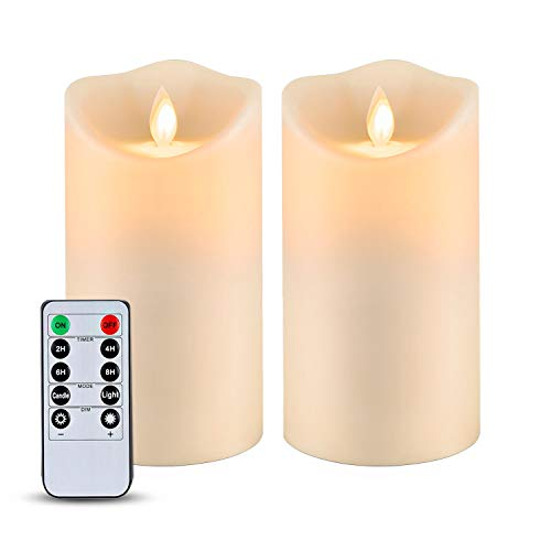 """5plots 6"""" x 3.25"""" Waterproof Flameless Candles, Outdoor LED Pillar Candles, Moving Flame Candles with Timers and Remote, Battery Operated Plastic Candles, Set of 2"""