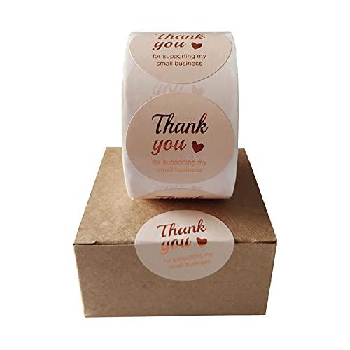 MBGM 3,8 cm 5 cm 500 piezas rollo de papel recubierto de regalo gracias sellado caliente Gracias etiqueta engomada de sellado
