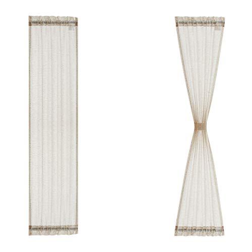 """Sidelight French Door Curtains 72"""" Long Flax Linen Blend Sheer Door Panels Privacy Side Door Curtains Including Tiebacks for Sliding Glass Door Patio Door Windows, Natural, 25Inch Wide x 2 Pieces"""