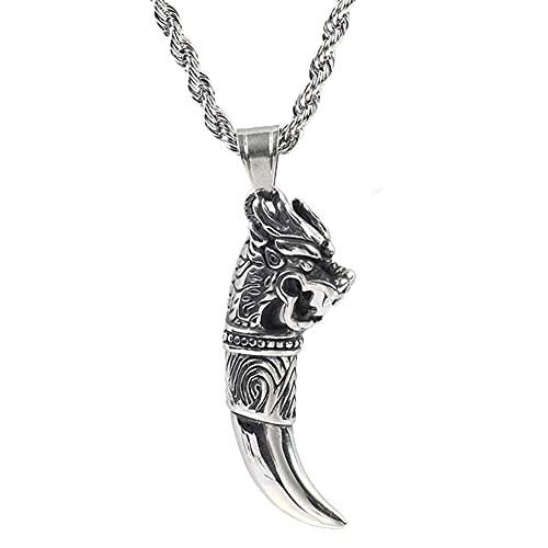 Collar de Vikingos para Hombre, Colgante de Cabeza de Lobo de Acero Inoxidable Retro Nórdico, Amuleto de Runas del Símbolo de Odin con Bolsa de Joyería Valknut