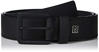 Calvin Klein Men's 35mm Rubberized Leather Belt, black, 32