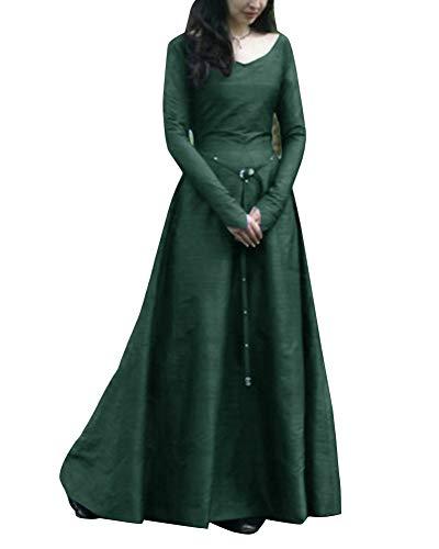 Disfraz Traje Medieval para Mujer Vestido Vintage Princesa Reina Cosplay De Halloween Verde 4XL