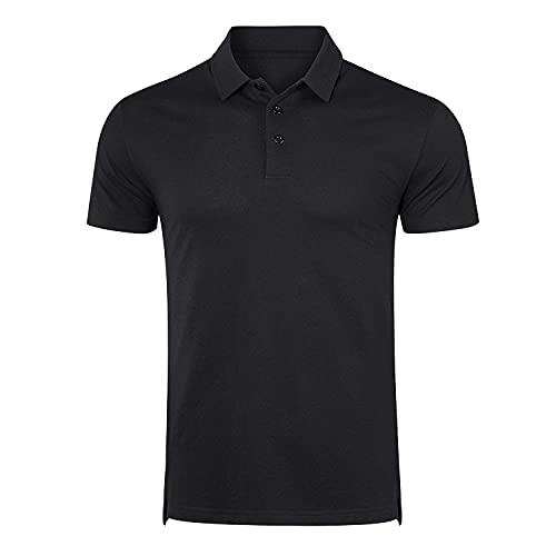 Naudamp Hommes Polos d'extérieur à Manches Courtes de Golf Respirant à Séchage Rapide T-Shirt d'été Léger et Décontracté - Taille L - Couleur Noir