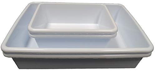 Bandeja Plastico Rectangular para Autoclave Sobremesa (Set de 4ud). 2ud de 0,89L + 2ud de 3L. Dimension aprox. 19x14,5x6 cm y 30x23x6 cm. (la x an x al).