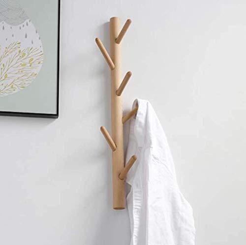 KONGZIR Coat Rack Branch Hanging Solid Wood Coat Rack, Entryway Coat Rack Wall Mounted, with 6 Wood Hooks for Hallway Bathroom Living Room Kitchen