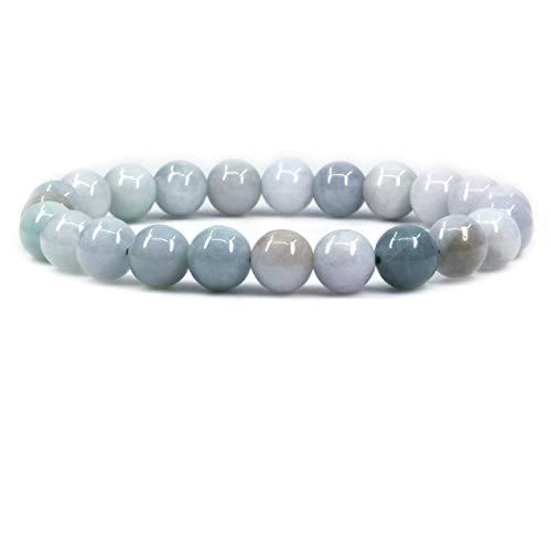 Green White Jade Gemstone 8mm Round Beads Elastic Bracelet 7 Inch