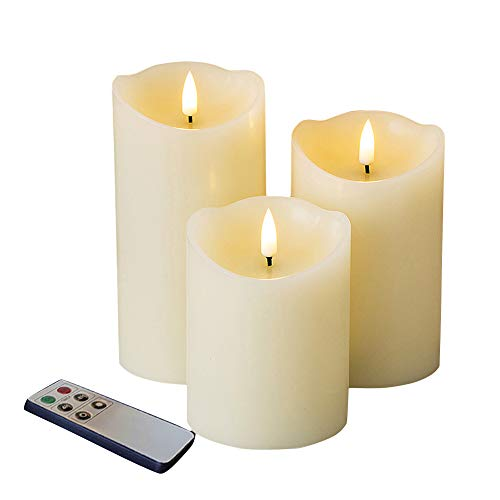 Eywamage Realistic Flameless Candles Set 3 with Remote , Electric LED Battery Pillar Candles Ivory Timer Fake Candles, 3 Inch Diameter 4 5 6 Inch Tall