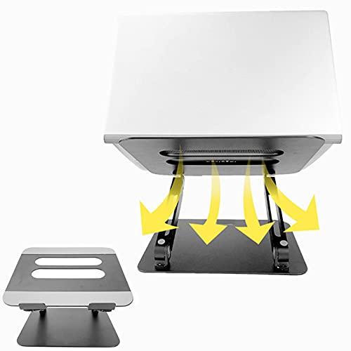 XIAYANG Diseño Ergonómico Plegable y Ajustable de Aluminio Soporte para Portátil, Antideslizante Ventilado Soporte Ordenador Porttil -para Portátiles y Tableta(Color:Negro)
