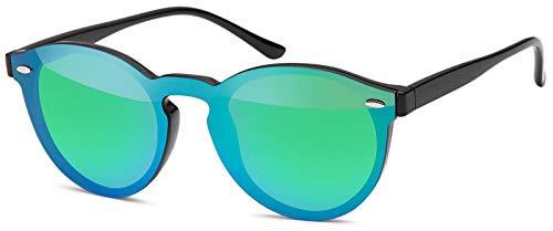 styleBREAKER Monoglas Sonnenbrille mit Flachgläsern und Kunststoff Bügel, runde Glasform, Unisex 09020081, Farbe:Gestell Schwarz/Glas Grün-Blau verspiegelt