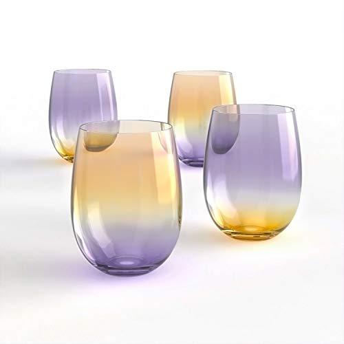 [4-Pack, 535ml/18oz]-DESIGN·MASTER-Coloré Verres à vin sans pied, Tendances de la mode en 2021, Idéal pour le vin rouge et vin blanc, les cocktails(Gris fumé & Whiskey)