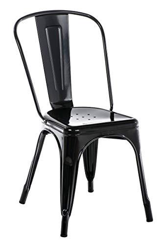 Chaise en métal Benedikt - Chaise avec Dossier Haut Pieds avec Patins de Protection - Hauteur Assise 46 cm - Chaise de Cuisine Charge Max. 200 kg - Couleur:, Couleurs:Noir