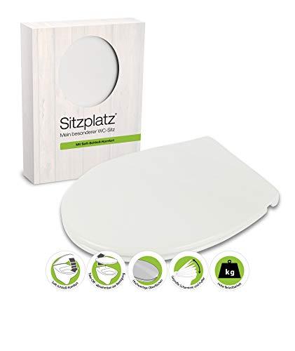 SITZPLATZ - 21844 3 - WC-Sitz Siena in Weiß - WC Brille mit Absenkautomatik aus Duroplast mit Metall-Scharnier