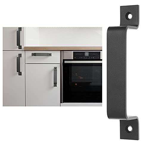 Eco-Fused 1x Asa de Puerta de Granero (Negro) con Tornillos Autorroscantes - Asa de Acero Sólido de 7 Pulgadas - Acabado Liso - Aspecto Rústico para Puertas, Gabinetes de Cocina, Graneros