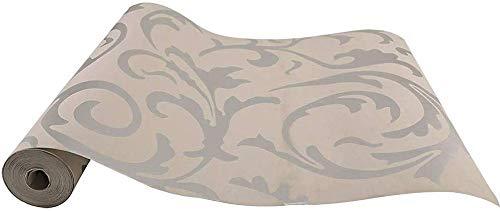 JUEYAN® 3D Papel Pintado Papel Tapiz Auto Adhesivo Papel Pintado no Tejido Pegar Decoración de Pared Colgantes para Casa Oficina Cocina Sala de Estilo Barroco Gris