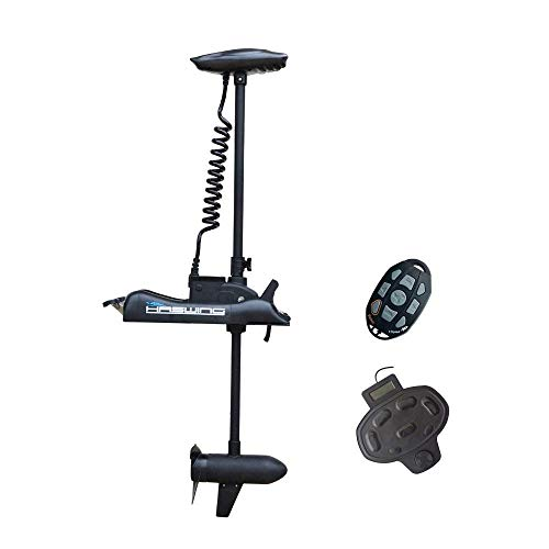 AQUOS Haswing Black 12V 55LBS 48inch Bow Mount Trolling Motor with Wireless Remote Control, Wired Foot Control for Inflatable Boat Kayak Bass Boat Aluminum Boat Fishing, Freshwater and Saltwater Use