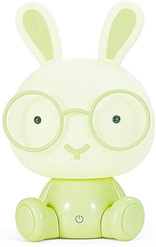 XDXT Luz de noche de dibujos animados USB, dibujos animados lindo conejo decoración noche luz, lindo conejo lámpara de mesa con gafas, regalo para niña verde