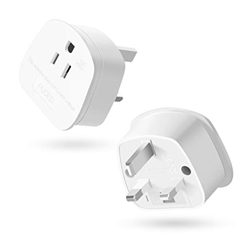 US to UK Plug,AIEVE 2/3 Pin USA to UK Plug Adaptor,American/Mexico/Canada Converter Plug Adapter with 13A Fuse for Laptop,Smartphone,Iphone,Macbook,Shaver and More Type A,B Plug (2-Pack)