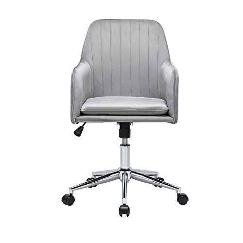 Lifetech Velvet Office Desk Chair with Arms Adjustable Office Computer Chairs Living Room Bedroom Swivel Chair with Wheels Accent Chair with Soft Cushion (Grey)