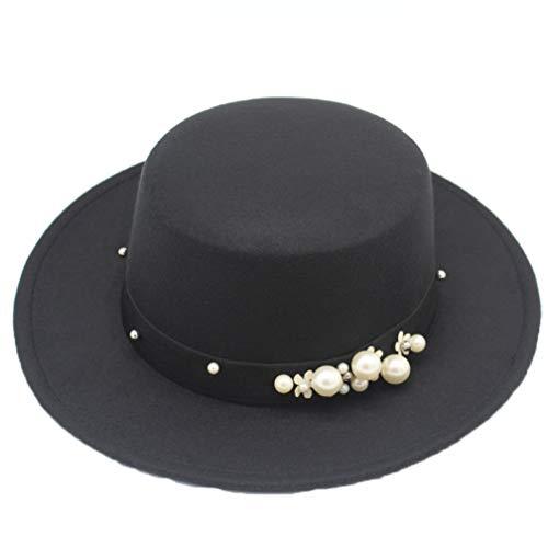 Sombrero Fedoras para Mujer Top Plano de Lana Negro de ala...