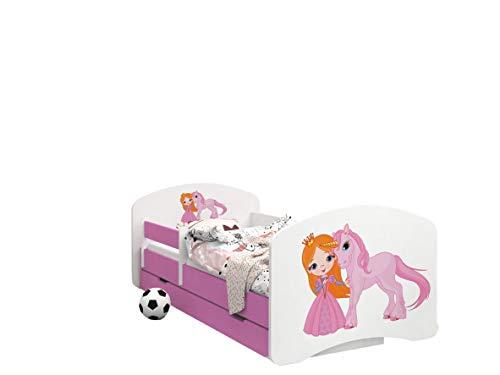Happy Babies – Cama infantil de doble cara con diseño moderno con bordes seguros y protección contra caídas, colchón de espuma de 7 cm, color rosa 40 Princesa y unicornio. Talla:190x90