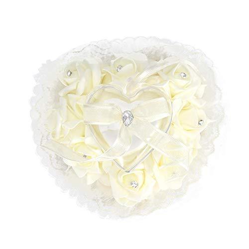 Duokon Cuscino per FEDI Cuscino per FEDI per Matrimonio Romantico Elegante a Forma di Cuore(Bianco Latte)
