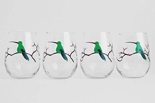 Hummingbird Glassware, Hummingbird Glasses - Set of 4 Stemless Hummingbird Glasses, Painted Glasses