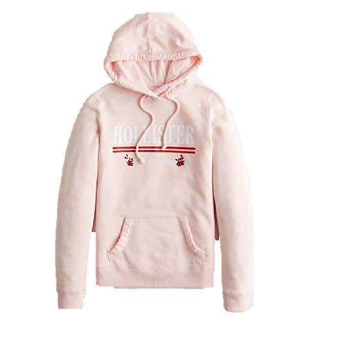 Hollister New by Abercrombie - Sudadera con capucha y logotipo floral, color rosa